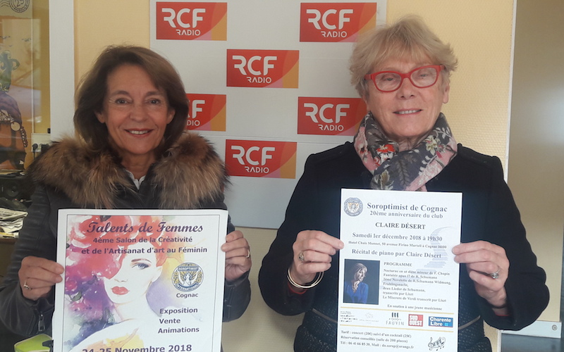 Eliane Croizet, la présidente du Club Soroptimist et Marie-Christine Fagot la coordinatrice du Salon Talents de femmes