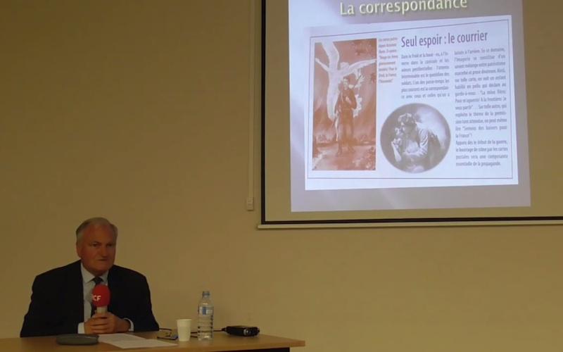 Jacques Baudet lors de la conférence sur les femmes durant la periode 14-18
