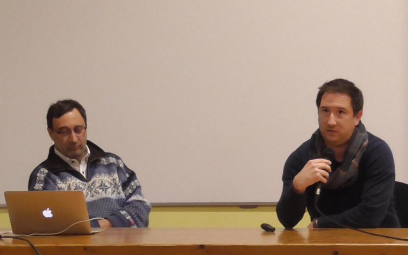 Olivier Dupuy, maitre de conférence, et Benoît Dugué, professeur d'université